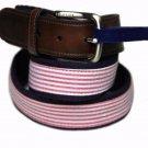 Tommy Hilfiger Seersucker Belt Red White Brown Men's Size Medium 34-36