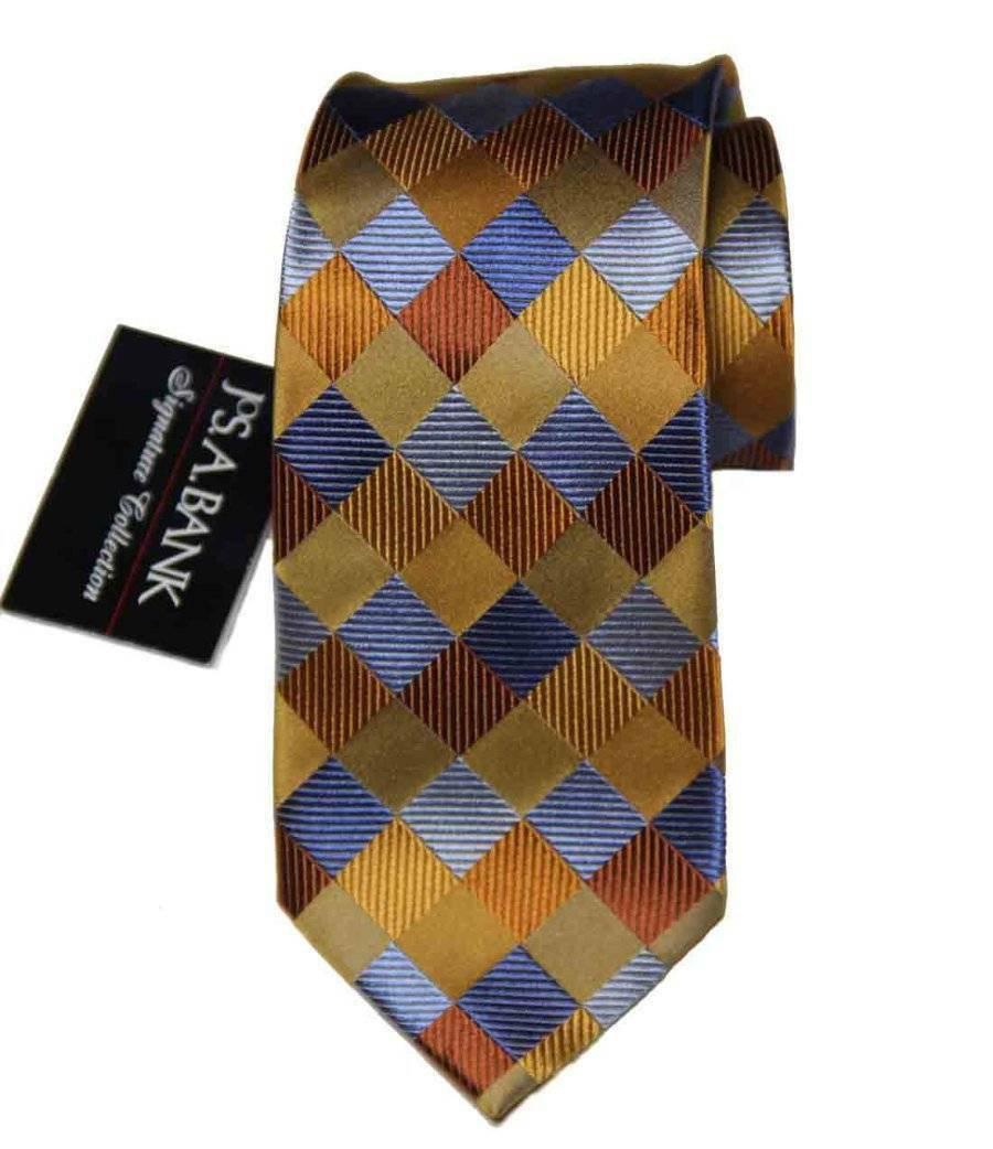 Men's Jos A Bank Silk Tie Hand Made Multi-color Squares Long