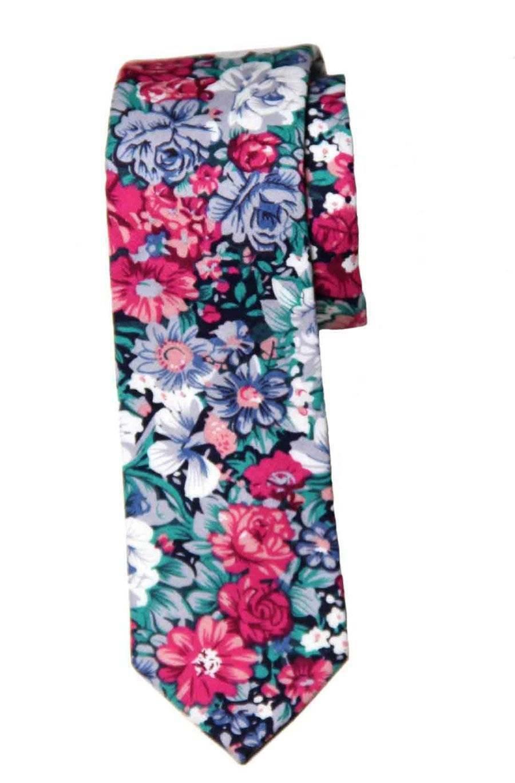 Men's Gascoigne Floral Skinny Cotton Tie Multicolor