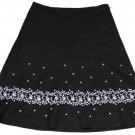 Womens Ann Taylor Embroidered Skirt Black White Size 8