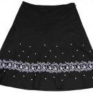 Ann Taylor Embroidered Skirt Black White Size 8