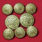 Mens Vintage Waterbury Club Room Blazer Buttons Set Gold Brass CR Monogram