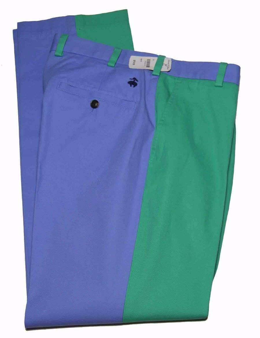 Mens Brooks Brothers Pants Blue Green Flat Front Size 34 X 32
