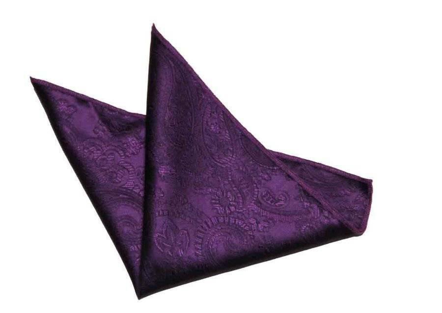 "Men's Gascoigne Pocket Square Purple Paisley Size 9"" X 9"""