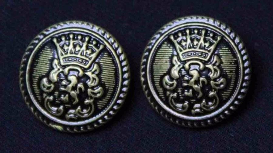 Two Mens Helsinborg Blazer Buttons Set Antique Gold Black Brass Crown Griffin