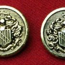 Two Mens Canterbury Blazer Buttons Knight Shield Gold Brass