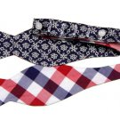 Brooks Brothers Bow Tie Silk Cotton Floral Geometric  Red White Blue Men's