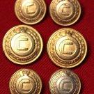 Claiborne Vintage C Monogram Blazer Buttons Set Brass Gold