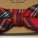 Cedar Wood State Red Tartan Plaid Bow Tie Cotton