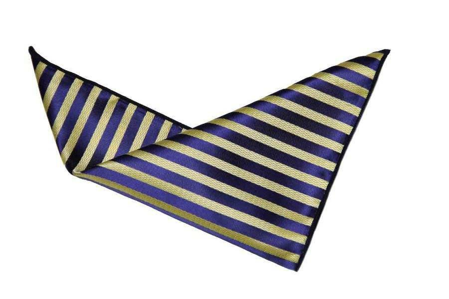 "Men's Gascoigne Pocket Square Striped Navy Blue Yellow 9"" X 9"""