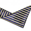 "Men's Gascoigne Pocket Square Striped Navy Blue Yellow 9"" X 9"""