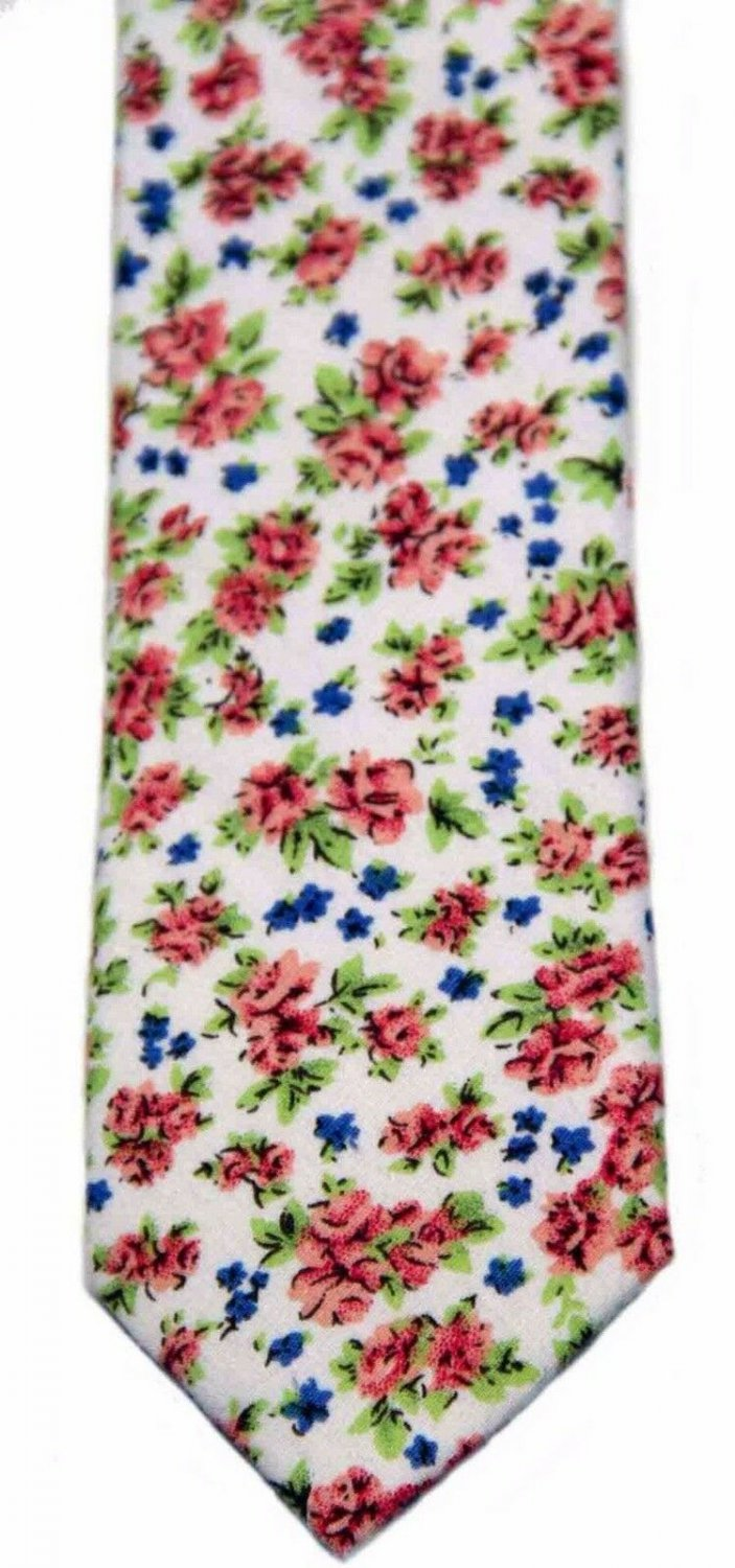 Mens Floral Cotton Neck Tie Made by Cedar Wood State Narrow