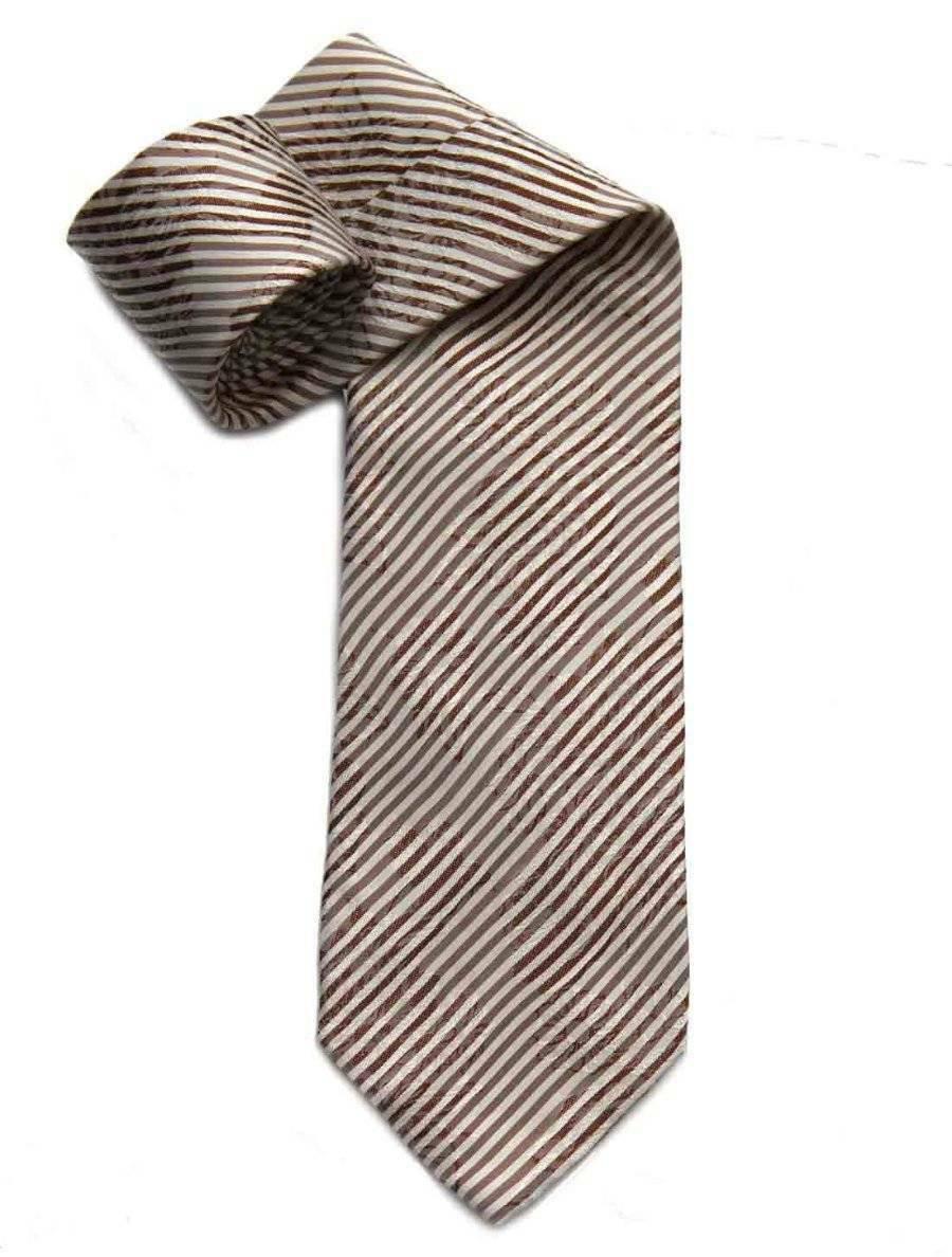 Emporio Armani Tie Italian Silk Floral Stripe Brown Tan White Men's