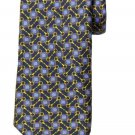 James Fisher London Silk Tie Horsebit Pattern Navy Blue Gold Men's