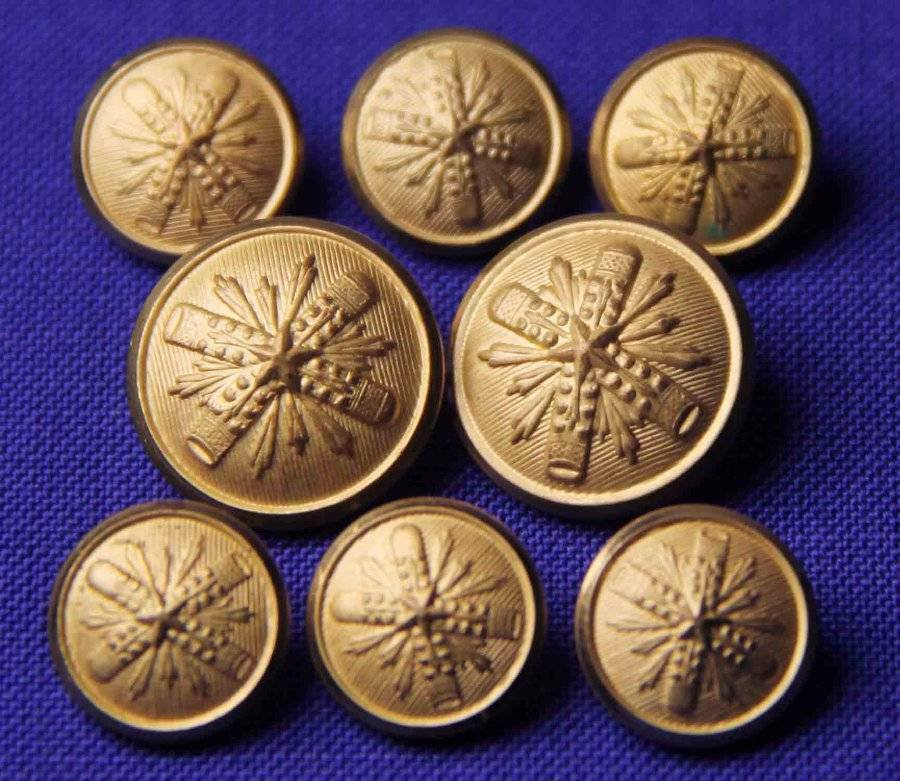 Mens Waterbury Starburst Blazer Buttons Set of Eight Gold Brass