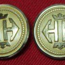 Two Mens Waterbury Blazer Buttons Gold Brass Shank Anchor