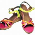 Womens Cole Haan Sandals Shoes Cork Wedge Platform Multi-Color ACTUAL Size 7M