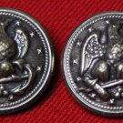 Two Mens Vintage Waterbury Blazer Buttons Silver Gray