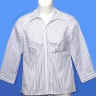 Ann Taylor Loft Shirt Blouse Striped White Women's Size Small