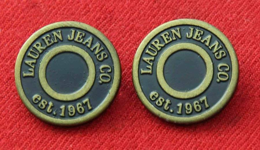 Two Ralph Lauren Jeans Co Buttons Metal Brown Gold Shank