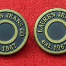 Two Ralph Lauren Jeans Co Buttons Metal Brown Gold Shank