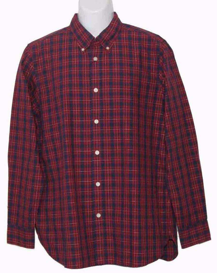 Mens Hickey Freeman Cotton Shirt Red Plaid Size Medium