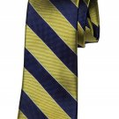 Club Room Repp Stripe Tie Gold Navy Blue Silk Men's