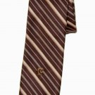 Mens Vintage Pierre Cardin Tie Brown Tan Striped 1970s