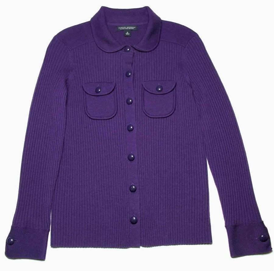 Womens Banana Republic Thick Merino Wool Cardigan Sweater Purple Size S