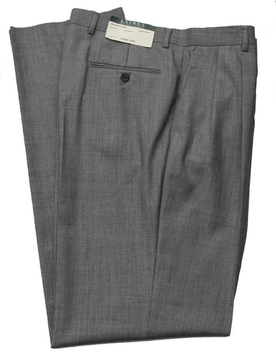 Ralph Lauren Dress Pants Gray Pleated Wool Pleated Men's Size 34