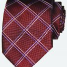 Mens Thomas Pink Neck Tie Silk Red Pink Gray