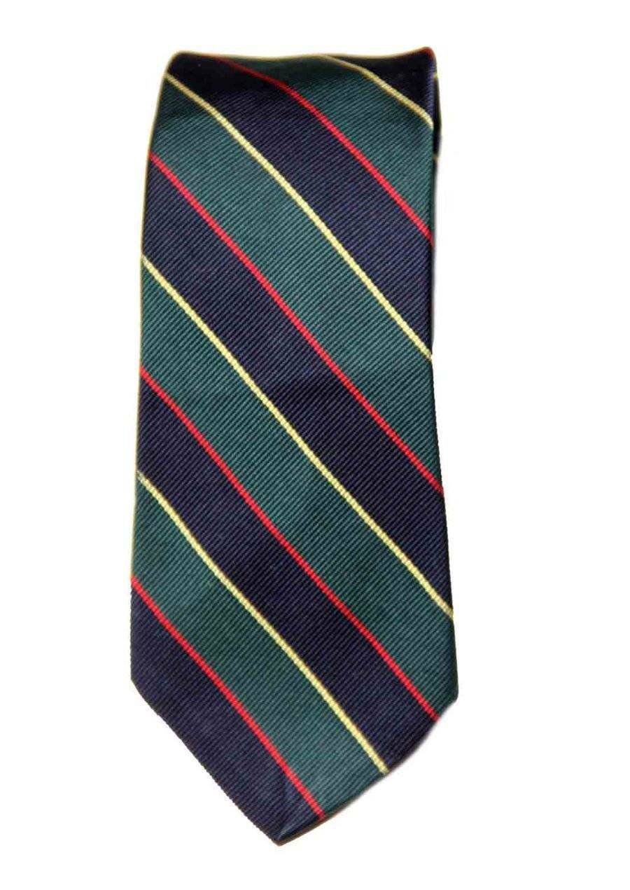 Vintage 1980s Jos A Bank Tie Silk Green Navy Red Yellow Men's