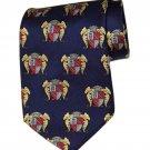 Men's Vintage Guy LaRoche Silk Tie 1980s Navy Heraldic Shield