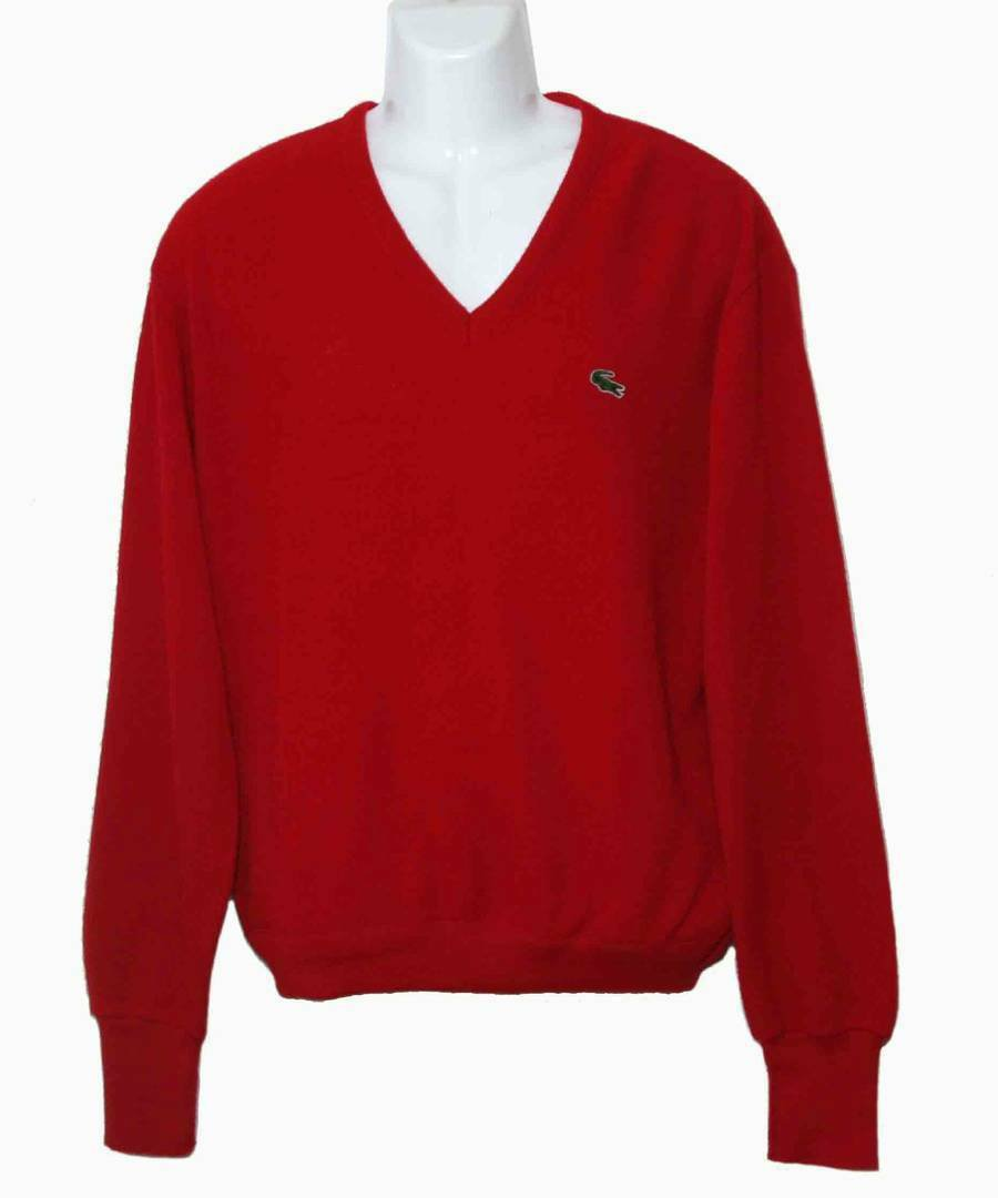 Vintage Izod Lacoste Sweater Red V-Neck Men's Size Large