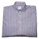 Brooks Brothers Non-Iron Cotton Shirt Striped Red White Blue Men's Medium