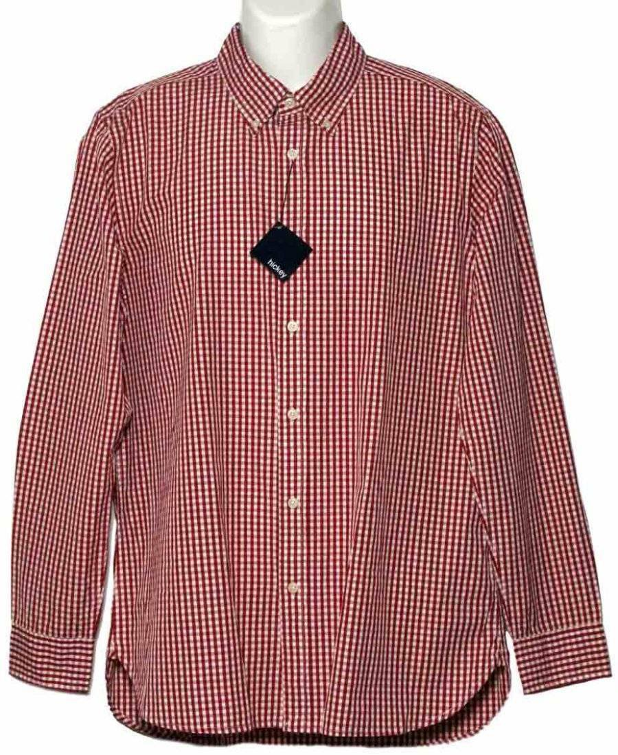 Mens Hickey Freeman Shirt Red White Check Mens Size L