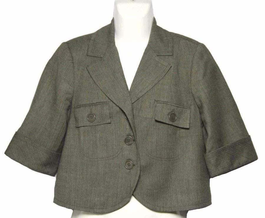 Womens Trina Turk Jacket Green Herringbone Size 8