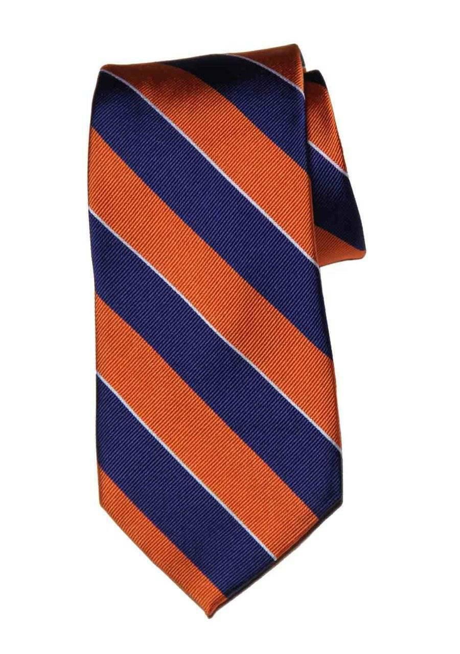 Tommy Hilfiger Repp Stripe Silk Tie Navy Orange White Men's