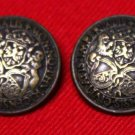 Two Mens Vintage Bill Blass Blazer Buttons Brown Gold Metal 1970s
