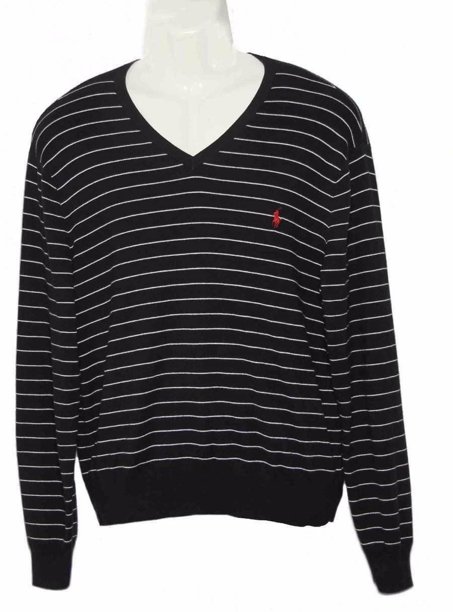 Polo Ralph Lauren Pima Cotton Sweater Striped V-Neck Men's Size Large