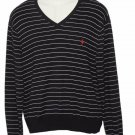 Polo Ralph Lauren Pima Cotton Sweater Striped V-Neck Men's Size Large
