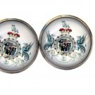 Gascogine English Heraldry Cufflinks Silver Zinc Alloy Griffins Shield Men's