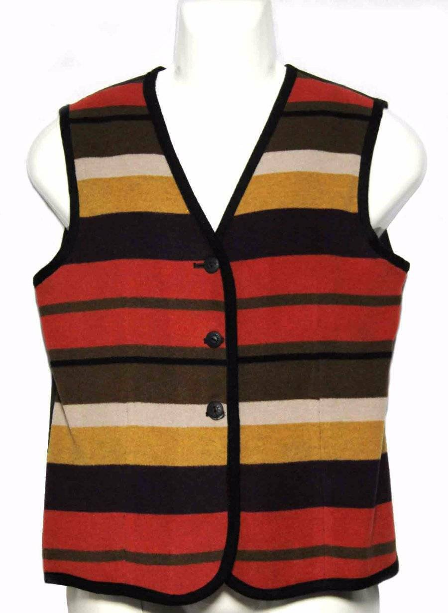 Womens Ann Taylor Vest Wool Blend Striped Size Fits Medium