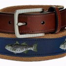 Club Room Fish Belt Blue Khaki Green Men's Size 42
