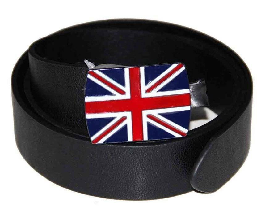 British Union Jack Belt Black Men's Size Large or 36-38