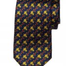 Vintage Antiche Seterie Italian Silk Tie Fleur de Lis Navy Red Yellow Men's
