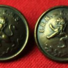 Two Mens Vintage Excelsior Blazer or Jacket Buttons Gold Metal Lion 7/8""