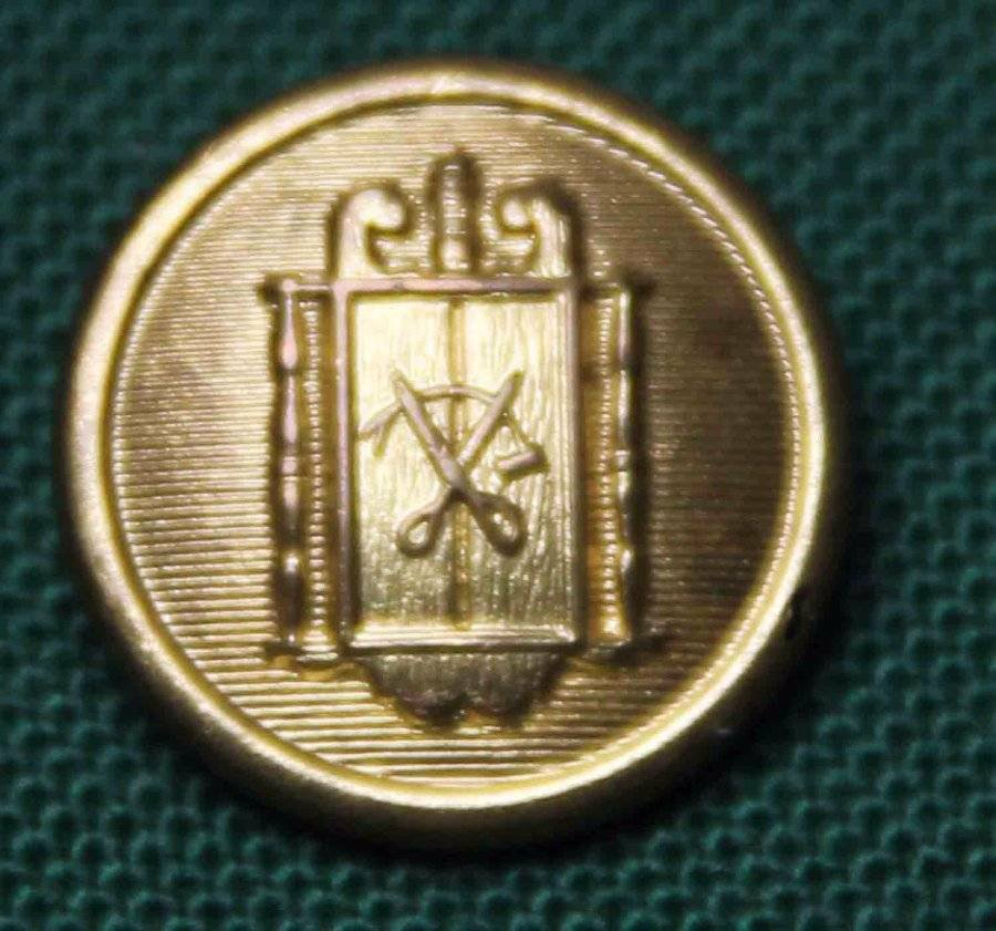 One Mens Vintage Blazer Button Gold Metal Scissors Pattern