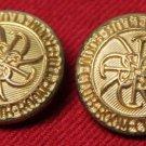 Two Men's Vintage Waterbury Blazer Buttons Gold Brass Shank 1970s