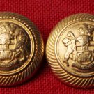 Two Caledonia Blazer Buttons Gold Brass Alloy Shank